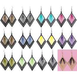 Wholesale Chandelier Frames - Thread Earrings Rhombus Frame 12 Colors Wholesale Lots Hook Elegant Dangle Women Eardrop ( Deep Pink Brown Blue Yellow Purple Green )(JT013)