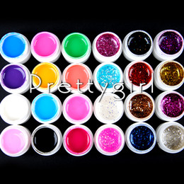 Wholesale French Tip Glitter - Wholesale-New 24 Pots Set Pure Solid Color Big Glitter Glittery colored UV Gel For Nail Art Tips Extension Nail Gel French Manicure