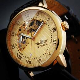 Wholesale Limited Winners - New Arrivals Time Limited Wholesales Winner Korea Watch Trend Casual Fan Hollowing Semi Manual Mechanical Watch Men Belt Students Wristwatch