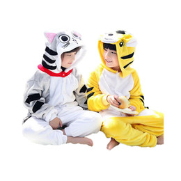 Wholesale cute sweet boys - cute kids one-piece pajamas cartoon Chi's Sweet Tigger sleepwear for 3-10yrs children boys girls onesie pajamas night clothes