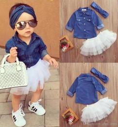Wholesale Long Skirts Fashion Outfits - Baby Girl Denim Fashion Set Clothing Children Long Sleeve Shirts Top+Shorts Skirt+Bow Headband 3PCS Outfits Kid Tracksuit A08