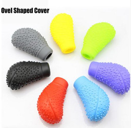 Wholesale Car Automatic Shift Cover - Car Auto Ovel Shaped Silicone Gear Shift Knob Cover Manual Automatic Nonslip Lever Shifter Knobs Case Protector Stick Jarket
