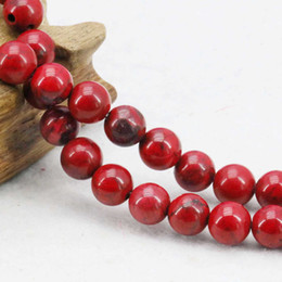 Wholesale Lucky Stone Sale - 8mm Hot Sale Red Stripe Lucky Stone Gifts Accessories Jewelry Turkey Turquoise Stone Jasper DIY Loose Beads Howlite 15inch Gems