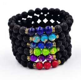 Wholesale Ceramic Gifts Crafts - 2017 New Arrival Lava Rock Beads Charms Bracelets colorized Beads Men's Women's Natural stone Strands Bracelet For Fashion Jewelry Crafts