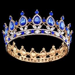 Wholesale Rhinestone King Crowns - Pageant Full Circle Tiara Clear Austrian Rhinestones King   Queen Crown Wedding Bridal Crown Costume Party Art Deco