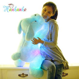 Wholesale Giant Stuffed Animals For Kids - Wholesale- 80cm Giant Size Flashing Puppy Plush Toy Creative Night Light LED Lovely Dog Stuffed Animal Best Gifts for Kids