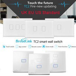 interruttore a parete di automazione domestica Sconti All'ingrosso-Broadlink TC2 UK EU US Switch 1Gang 2Gang 3Gang Touch Switch Smart Home Automation Wireless Wifi Control Light Wall Switch RF433