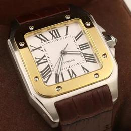 2019 роскошные часы xl 2018 роскошный новый бренд мужчины 100 XL часы автоматические механические часы коричневый кожаный золотой корпус Мужские спортивные оригинальный застежка наручные часы скидка роскошные часы xl