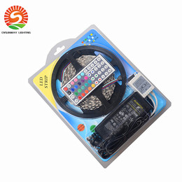 Wholesale Remote Control Power Eu - 5050 RGB led strip set 5m 300leds waterproof 12V + 44keys remote control+ 12V 6A power supply with EU AU UK US Plug