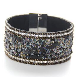 Wholesale Wholesale Beads For Wrap Bracelets - 2017 Fashion punk charm wrap Slake Leather Bracelets for women big gem Crystals Stone bracelets bangles Couple statement Jewelry wholesale