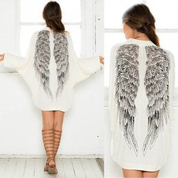 Wholesale Wholesale Womens Cardigans - Wholesale- 2015 Autumn Back Angel Wings Print Womens Cardigan European Loose Batwing Sleeve Coat Jacket Female Casual Femininas Sweater