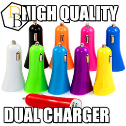 Wholesale Colorful Cell Phone Chargers - Cell Phone Charger Mini Micro Dual USB Car colorful Charger Adapter Port 5V 1A For iPhone 6 5 Ipad Samsung HTC LG Sony