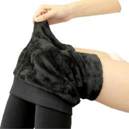 Wholesale Fleece Leggins - Women Leggings Thicken Fur Warm Fitness Leggins Winter WarmA pack of th Fleece Legging Stretch Lady Pants Women Trouser Female Leggins G0642