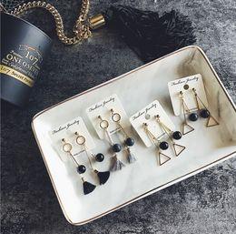 Wholesale Triangle Dangle Earrings Fashion - 2017 Fashion Small Black Bead with Tassels Triangle Earrings For Women Dangle & Chandelier Jewelry
