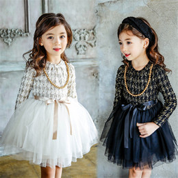 Wholesale 4t Girls Plaid Dress - 2017 Korean Boutique Girls Spring Cotton Dress Fragrant Princess Tutu Dress Butterfly Belt Birthday Party Gift Velvet lining