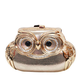 Wholesale Patterned Evening Clutch - Cute Owl pochette soiree women clutches Luxury Evening Bags Chain Shoulder Bag Animal Pattern designer Party Purse L605