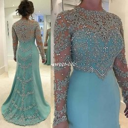 Wholesale Crystal Mints - Mint Green Vintage Mermaid Mother Of The Bride Dresses Long Sleeve Beads Crystal Lace Appliqued Plus Size Satin Formal Guest Evening Dress