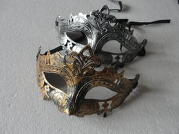 Wholesale Mens School - Retro Greco Roman Mens Mask for Mardi Gras Gladiator masquerade Vintage Golden Silver Mask silver Carnival Halloween Masks 10pcs