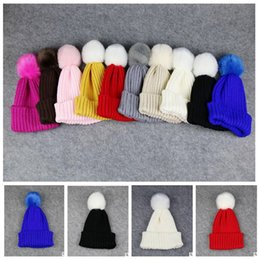 Wholesale Candy Color Hat - Children Winter Hats Fur Pom Poms Warm Knitted Beanies Kids candy color Cap For Girs Boys Winter Knit Warm Soft Beanie KKA2920