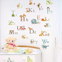 Wholesale Abc For Kids - 60*90cm Cartoon Animals Engligh Letters ABC Wall Stickers DIY Art Decal Removeable Wallpaper Mural Sticker for Kids Room Kindergarten