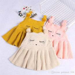 Wholesale Kids Feather Skirts - 3 color INS styles new arrival Girl Pure cotton suspender skirt kids spring autumn Shy face embroidery girl casual elegant dress free ship