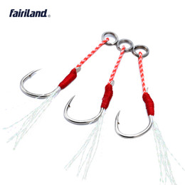 Wholesale Saltwater Led - Wholesale Hi-carbon steel jig BKK hook assist lead bait fishhooks w  braided PE line feather hooks 20KG 44Ib 10# 12# 14# 16# available