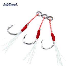 Wholesale Saltwater Led - Wholesale Hi-carbon steel jig BKK hook assist lead bait fishhooks w  braided PE line feather hooks 20KG 44Ib 10# 12# 14# 16# available
