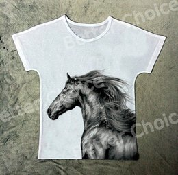 Wholesale Picture Tees - Track Ship+New Vintage Retro T-shirt Top Tee Strong Pen Drawing Wild Horse Simple Pen Picture 1314