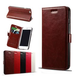 Wholesale Opp Bags Card - Extra Strong Magnet and Folio Kickstand Function PU Wallet Case with Credit Card Pocket Slots Case For iPhone 6 6s 7 OPP Bag