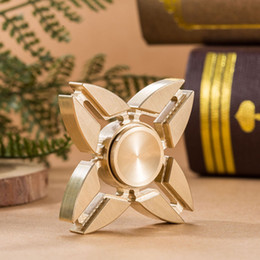 Wholesale Triangle Angle Wholesale - Pure Brass EDC Hand Spinner Fingertips Spiral Fidget Handspinner Fingers Spinner Gyro Quadrangle Triangle Double Angle For Autism