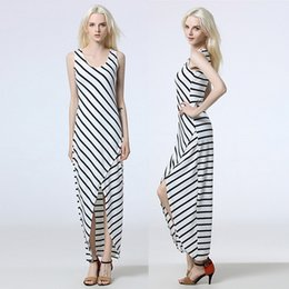 Wholesale Long Asymmetrical Stripe Dresses - Casual Dresses For Women Sexy Plus Size Clothing Stripes Round Collar of Cultivate One's Temperament Split Sexy Long Dress