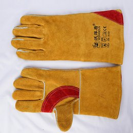 Wholesale Gloves For Wholesale Yellow - Palm Protection Cowhide Cotton Yellow Welding Gloves High Temperature Wear-Resistant Work Labor Protection for Cutting, Welding