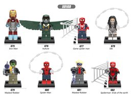 Wholesale Spider Mask - 120pcs Mix Lot Super Heroes Series Minifig Silk Iron Man Vulture Game Spider Man Masked Robber XINH X0168 Mini Building Blocks Figures