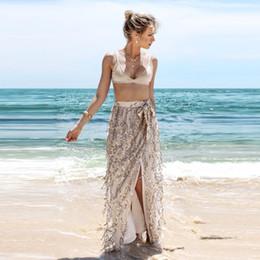 Wholesale Long Straight Beach Skirts Women - Summer Women Beach Beige Tassel Sparkle Sequined Long Gauze Skirt High Waist Side Split Beach Mesh Mid-Calf Skirts Wear Cover Ups