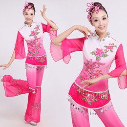 Wholesale National Dance Dress - 3XL 2 PCS Women's Chinese Yangko Dress Costume Chinese Classic National Lady Dancing Clothes Female Stage Performance Wear 16