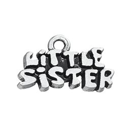 Wholesale Little Sister Charm - New Design Stainless Steel Sliver Plated Little Sister charms For DIY Jewelry Gifts