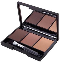 Wholesale Brush Colour - Professional eyebrow kit 3 Colour Eyebrow Powder   Shadow Palette Enhancer With Ended eye brow brush MakeUp