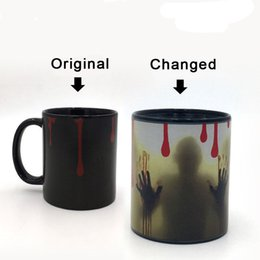Wholesale Ceramic Cup Magic - The Walking Dead Mugs Color Change Ceramic Coffee Mug and Cup Fashion Gift Heat Reveal Magic Zombie Mugs for Friend