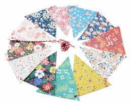 Wholesale Bunting String Flags - Wholesale- DIY Floral Pennant Bunting String Party Decoration Triangular Flags Festival Decor Flower Pattern Garland Outdoor Pastoral Party
