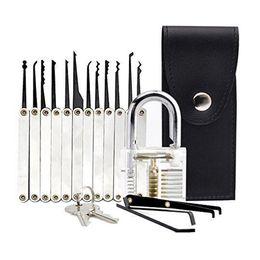 Wholesale Key Extractor Tool - Factory Free Shipping! Locksmith tool Transparent Practice Padlocks + 12 Piece Unlocking High Yield Lock Pick Set Key Extractor Tool