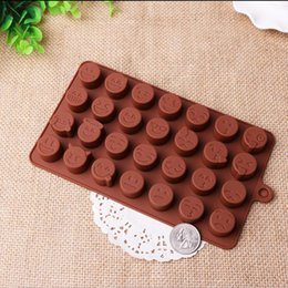 Wholesale Funny Candies - Emoji Funny Face DIY Silicone QQ wechat Cake Chocolate Sugar Candy Baking Mould Coffee Pink 2Color