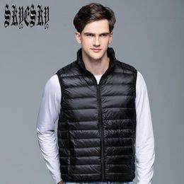 Wholesale Down Vest Men - Wholesale- Ultralight Men 90% White Duck Down Jacket Winter Duck Down Coat Waterproof Down Parkas Outerwear Vest