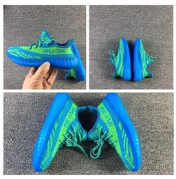 Wholesale Green Color Baby Shoes - High quality Kanye West Children Boost V2 350 Runs Baby Kids Athletic Shoes Boys Girls Running Shoes SPLY Athletic sneaker shoes blue green