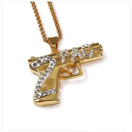 Wholesale Game Counters - New Arrival Gold Plated Sniper Rifle 2PAC gun Pendant Necklace Alloy Counter Strike Games Sniper Rifle Gun Model Pendants For Men