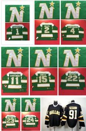 Wholesale Hockey Jerseys 22 - Stars Blank 1 Worsley 2 GILES 4 HARTSBURG 11 Gartner 15 SMITH 22 Hextall 23 BELLOWS 24 TINORDI Green throwback Hockey Jerseys Stitched NHL