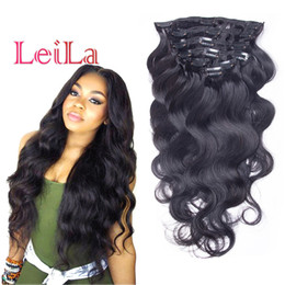 Wholesale Head Human Hair Extensions - Virgin Hair Body Wave Clip In Hair Extensions Malaysian 70-120g Unprocessed Human Hair Weaves 7 Pieces set Full Head