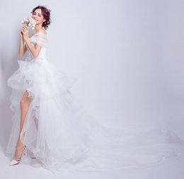 Wholesale Cheap After Dresses - New Arrival Hot Sale Fashion Luxury Princess Lace Organza Multilayer Cheap Vintage Sweetheart Short After Long Trailing Bridal Wedding Dress