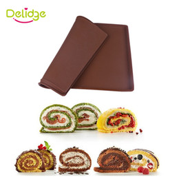 Wholesale Pallets Diy - 1 pc Cake Roll Mat Silicone Swiss Roll Mold Maker Tray Big Size Square Shape Swiss Cake Rolls Pallets DIY Chocolate Mold Tool