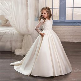 Wholesale Pockets Bow Wedding Dress - First Communion Dress Long Sleeves Pockets Appliques Satin Ivory flower girl dresses Custom Made Pageant Party Dress