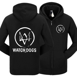 Wholesale Novelty Mens Watches - Wholesale- Mens Fashion Winter Autumn Watch Dogs Hoody Black White Gray Color Watch Dogs Pullover Hoodies For Adult